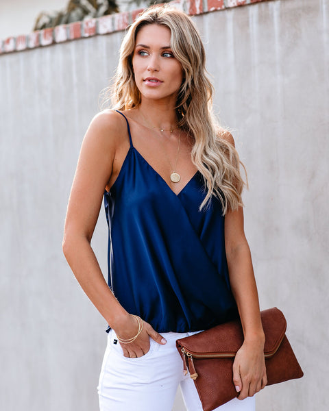 Jameson Satin Surplice Cami Tank - Navy
