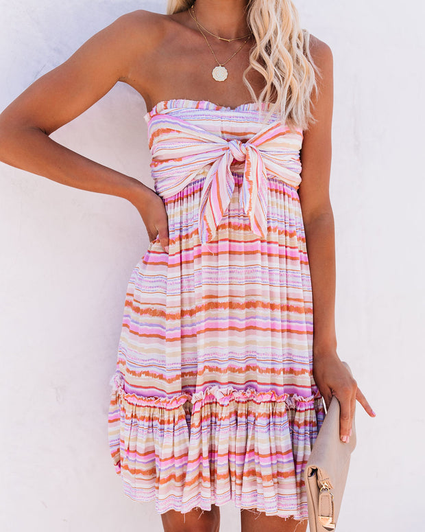 Jamie Strapless Striped Tie Front Tunic