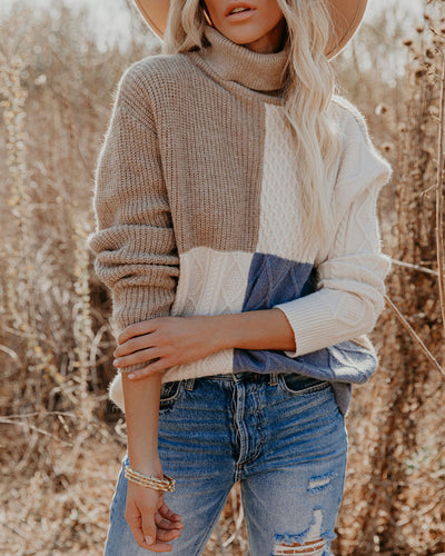 Jasmin Colorblock Turtleneck Knit Sweater