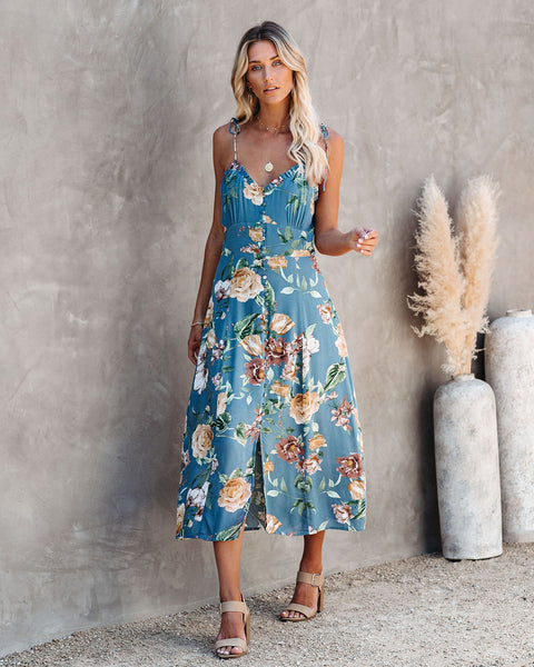 Jasmine Floral Ruffle Midi Dress