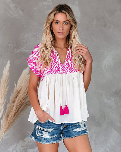 Jaydan Cotton Blend Embroidered Babydoll Top  - FINAL SALE
