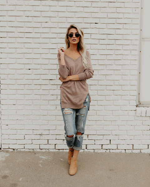 Shasta V-Neck Sweater - Brown