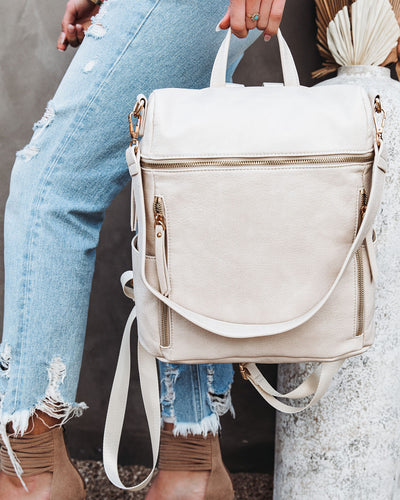 Jefferson Faux Leather Zip Backpack - Cream