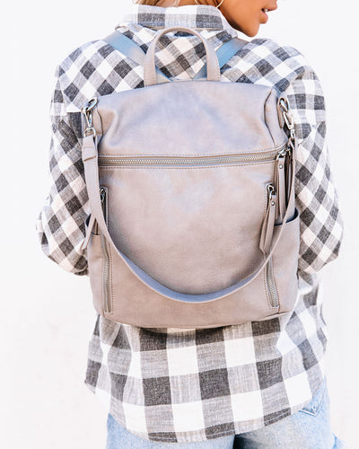 Jefferson Faux Leather Zip Backpack - Grey