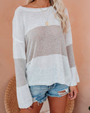 Jennifer Striped Knit Sweater - Grey