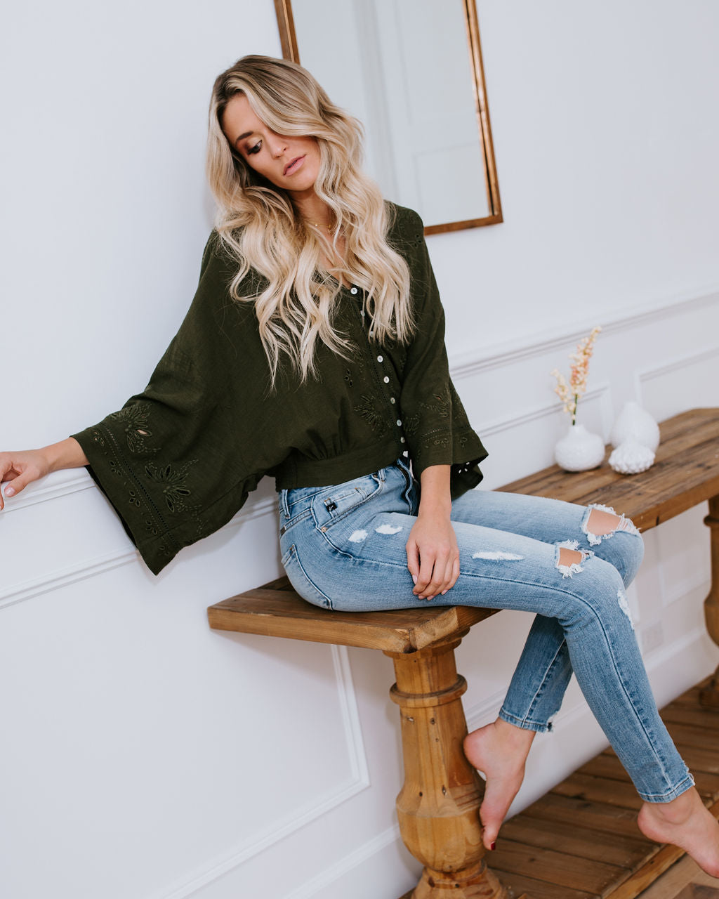 99c025f3bfa5 Je T aime Eyelet Button Down Top - Olive – VICI