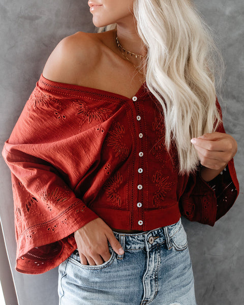 Je T'aime Eyelet Button Down Top - Spice