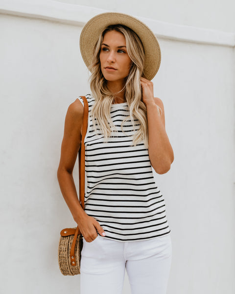 Jet Striped Cotton Tank