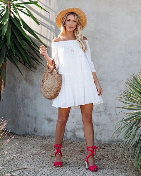 Jewel Cotton Off The Shoulder Tiered Dress