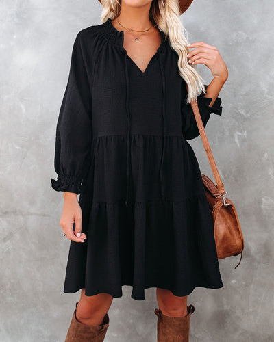 Jewel Pocketed Tiered Babydoll Dress - Black