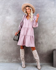 Jewel Pocketed Tiered Babydoll Dress - Mauve