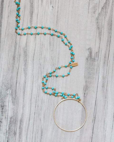 MEGHAN BO DESIGNS - Turquoise Gold Hoop Rosary Necklace