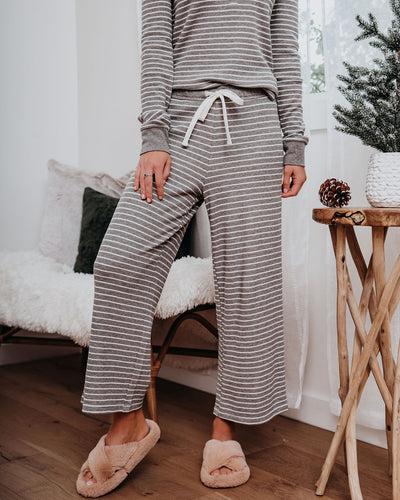 Jillian Cotton + Modal Striped Wide Leg Pants