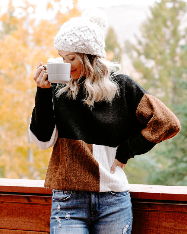 Join Hands Colorblock Mock Neck Sweater