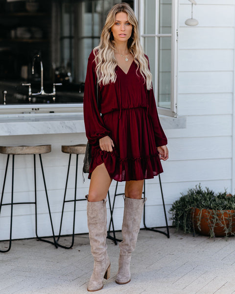 Jonah Long Sleeve Ruffle Dress - Wine