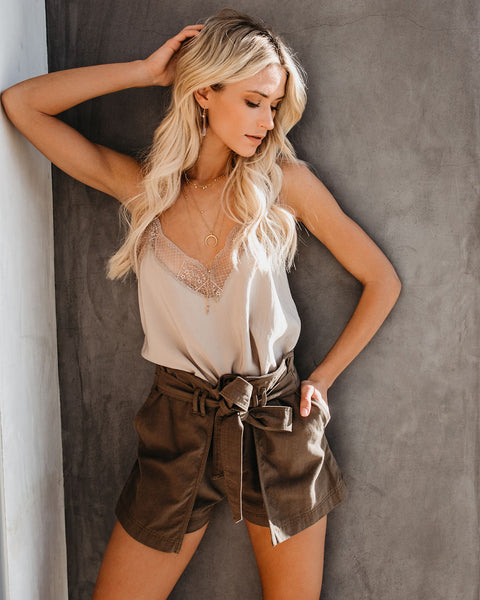 Journee Cotton Pocketed Wrap Shorts - Olive