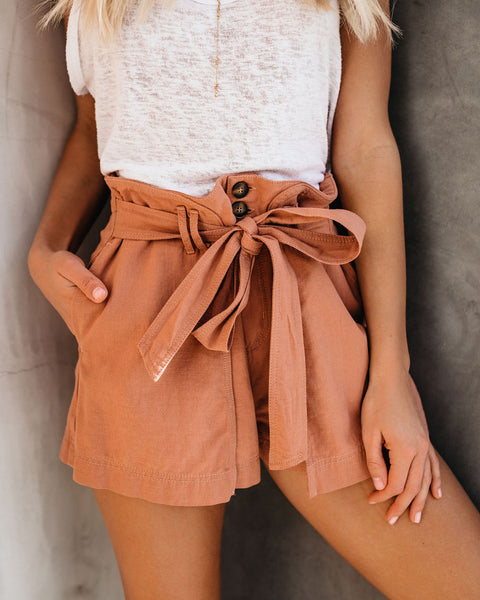 Journee Cotton Pocketed Wrap Shorts - Salmon
