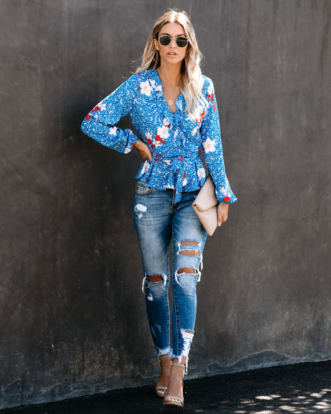 Joyfully Yours Floral Ruffle Blouse