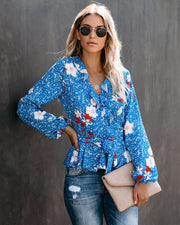Joyfully Yours Floral Ruffle Blouse  - FINAL SALE