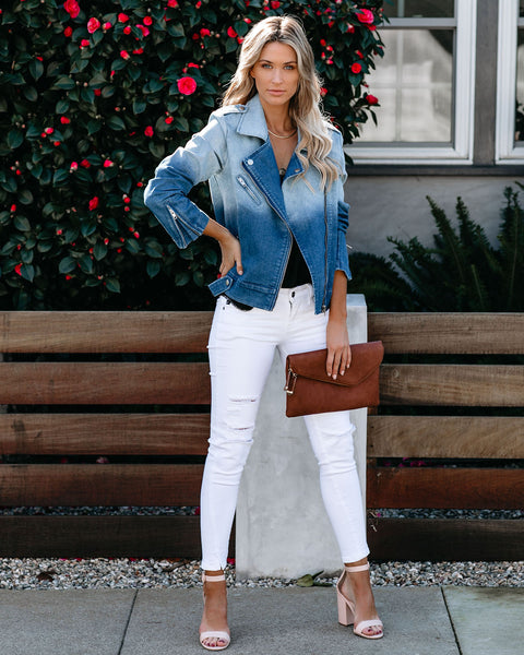 Jump Around Pocketed Ombre Denim  Moto Jacket - FINAL SALE