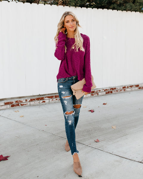 Jump For Joy Knit Sweater - Amethyst