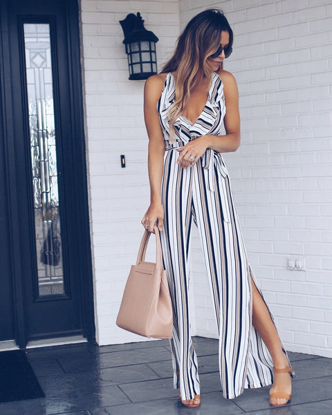 On Track Striped Jumpsuit