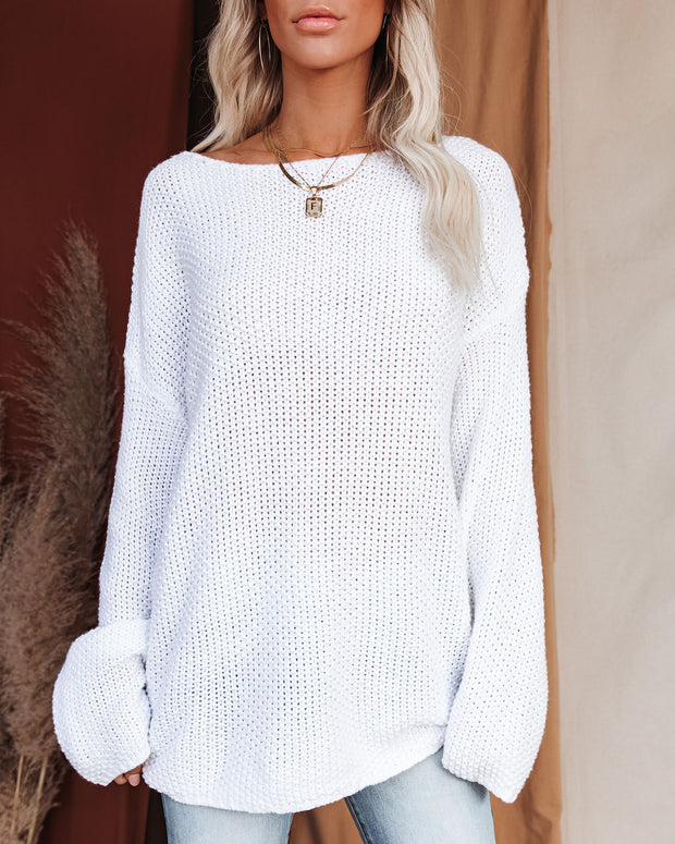 Just Enjoy Relaxed Knit Sweater - White