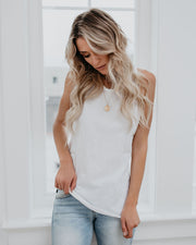 Just My Type Cotton Racerback Tank - White