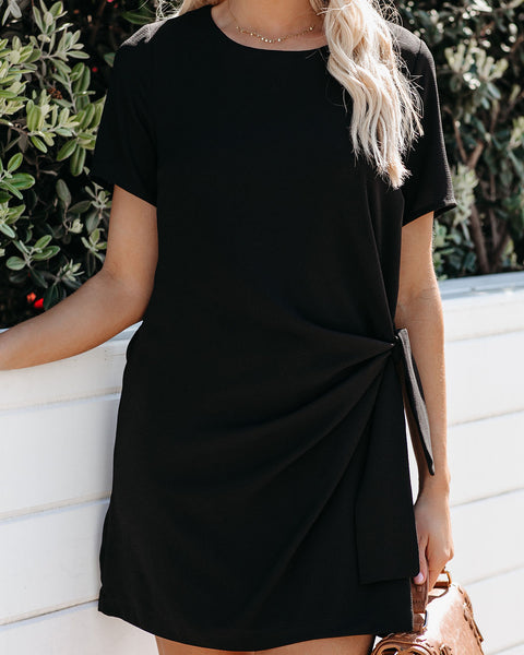Just One Dance Knotted Shift Dress - Black