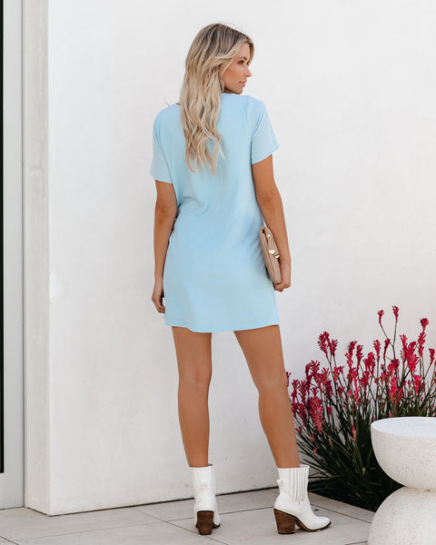 Just One Dance Knotted Shift Dress - Light Blue