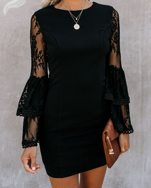 Just One Kiss Lace Bell Sleeve Dress - Black