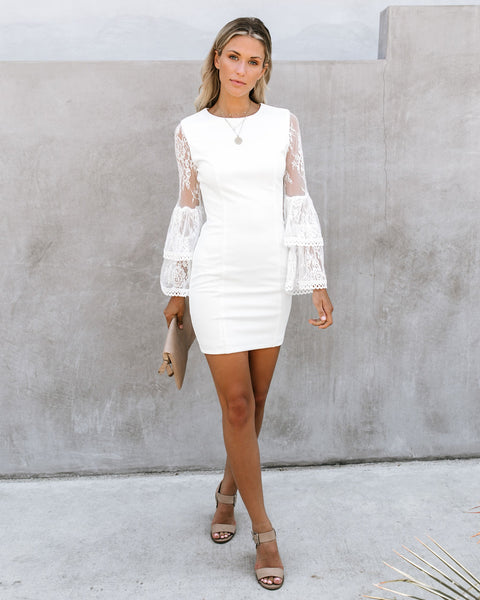 Just One Kiss Lace Bell Sleeve Dress - White