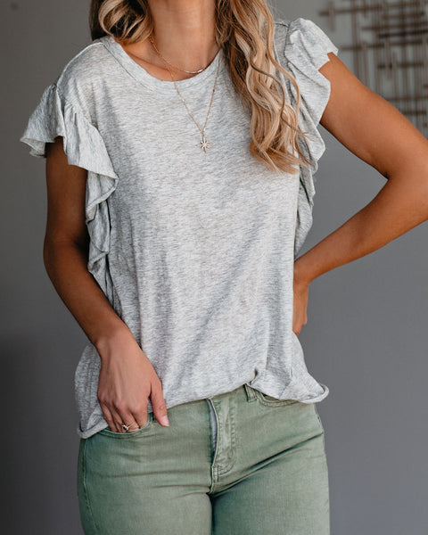 Just Us Two Cotton Flutter Sleeve Knit Top