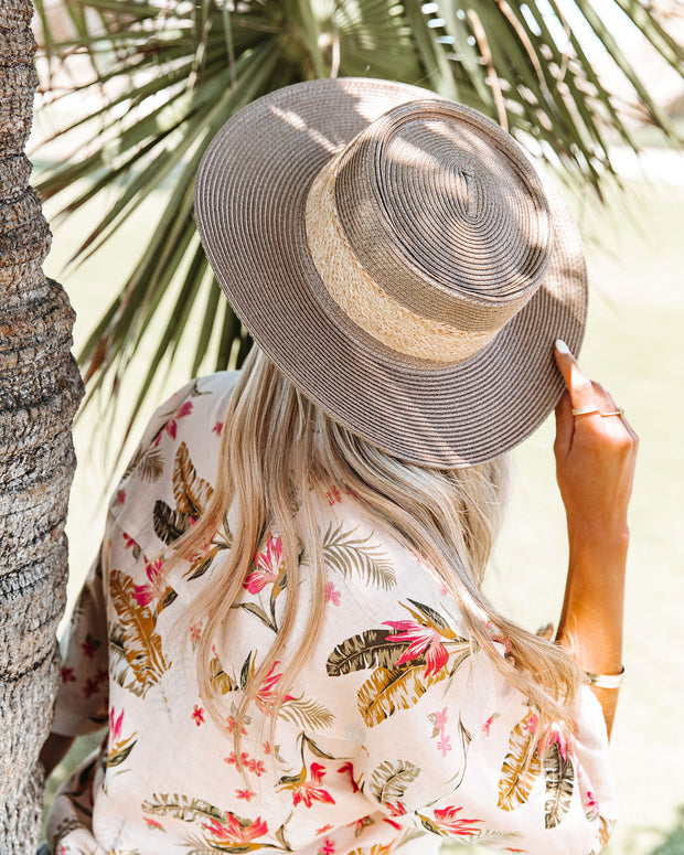 Kaine Straw Boater Hat - Dark Taupe view 3