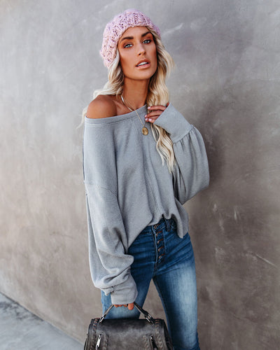 Kaitlynn Billowed Sleeve Knit Top - Charcoal