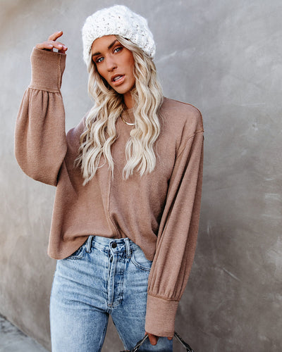Kaitlynn Billowed Sleeve Knit Top - Latte