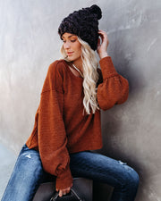 Kaitlynn Billowed Sleeve Knit Top - Rust