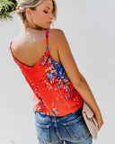 Kalimera Button Down Tie Tank - Tomato/Blue Multi