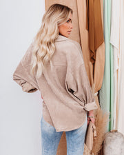 Kamryn Corduroy Button Down Pocket Top - Taupe view 2