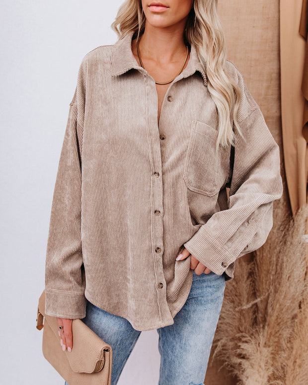 Kamryn Corduroy Button Down Pocket Top - Taupe view 5