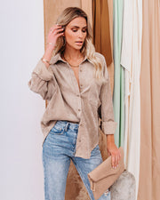 Kamryn Corduroy Button Down Pocket Top - Taupe view 8