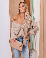Kamryn Corduroy Button Down Pocket Top - Taupe view 11