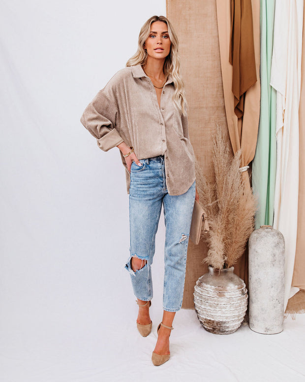 Kamryn Corduroy Button Down Pocket Top - Taupe view 1