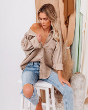 Kamryn Corduroy Button Down Pocket Top - Taupe view 7