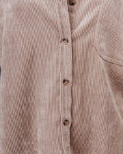 Kamryn Corduroy Button Down Pocket Top - Taupe view 4