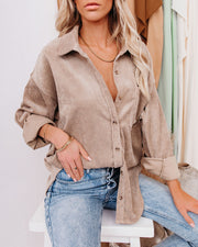 Kamryn Corduroy Button Down Pocket Top - Taupe view 9