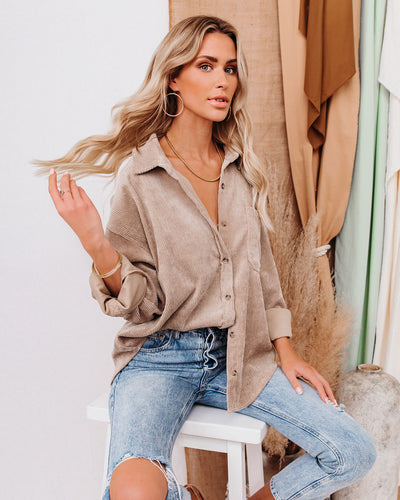 Kamryn Corduroy Button Down Pocket Top - Taupe