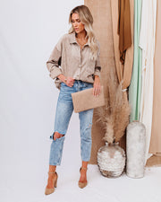 Kamryn Corduroy Button Down Pocket Top - Taupe view 10