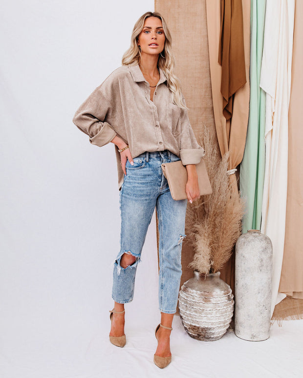 Kamryn Corduroy Button Down Pocket Top - Taupe view 6