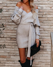 Kara Drape Knit Sweater Dress - Grey
